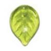 Glass Leaves 18x13mm Olivine Strung